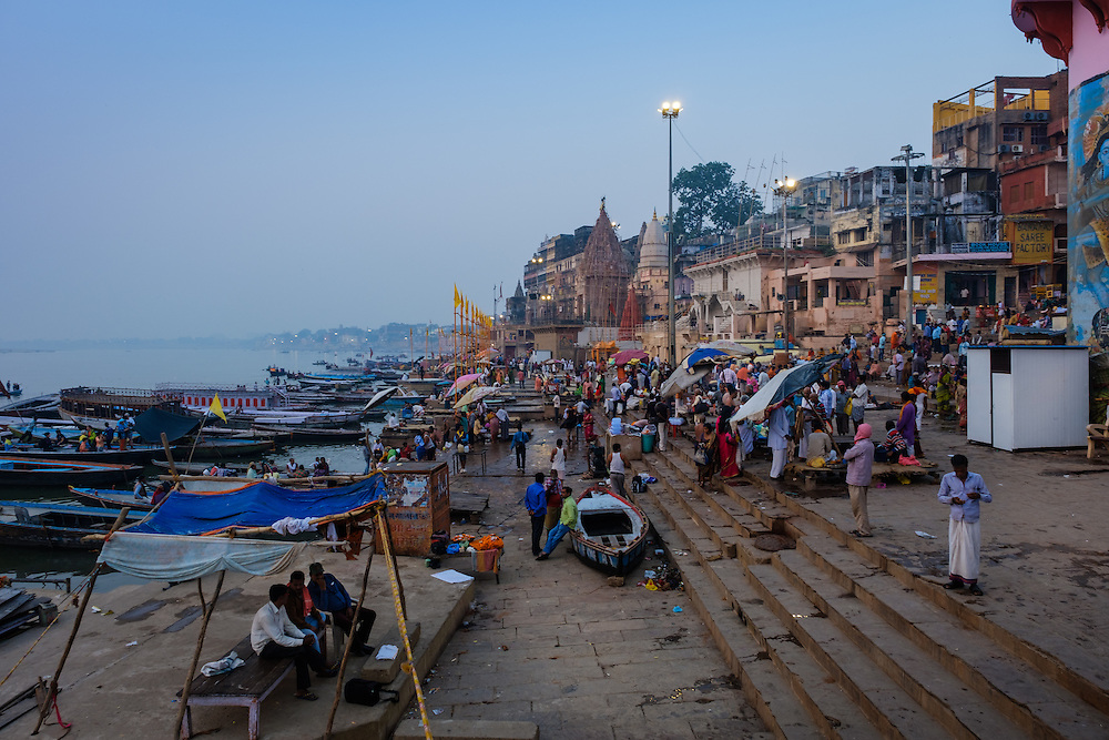 VARANASI, INDIA - CIRCA NOVEMBER 2016: Dasaswamedh Ghat in the Ganges river early morning. The city of Varanasi is the spiritual capital of India, it is the holiest of the seven sacred cities in Hinduism and Jainism. The Ganges is also considered a sacred river.