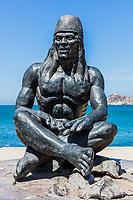 waterfrant statue Tayrona man of Santa Marta Magdalena in Colombia South America