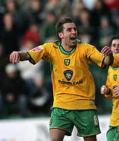 Photo: Lee Earle.<br /> Plymouth Argyle v Norwich City. Coca Cola Championship.<br /> 14/01/2006. Norwich's Darren Huckerby celebrates scoring the equalising goal.