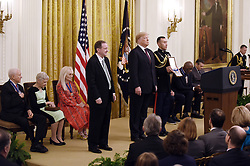 US President Donald Trump awards the Presidential Medal of Freedom to singer Elvis Presley, President and CEO ofElvis PresleyEnterprises JackSoden accepting, at the White House in Washington, DC, on November 16, 2018. - The Medal is the highest civilian award of the United States. Photo by Olivier Douliery/ABACAPRESS.COM