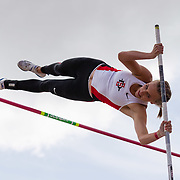 23 March 2018: Rachel Craft competes in the first round of pole vaulting on the final day of the 43rd annual Aztec Invitational.<br /> More game action at sdsuaztecphotos.com