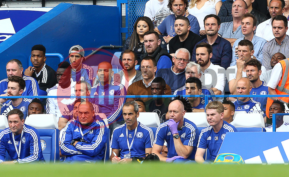 John Terry  ( C ) of Chelsea sits in the stands due to a suspension  - Mandatory byline: Paul Terry/JMP - 07966386802 - 29/08/2015 - FOOTBALL - Stamford Bridge -London,England - Chelsea v Crystal Palace - Barclays Premier League