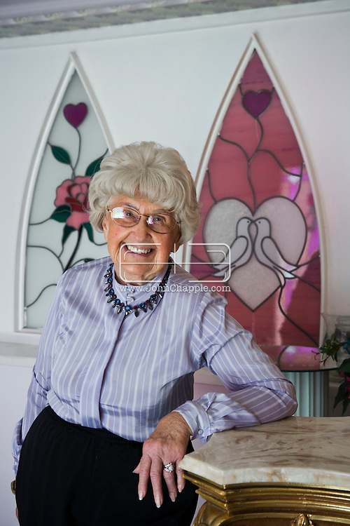 5th June 2010. Las Vegas, Nevada. Known around the world as one of the most Famous places to be married, The Little White Wedding Chapel in Las Vegas has wed stars from Britney Spears to Judy Garland. Pictured is Rhoda Bell-Jones. Grey-haired Rhoda is the chapel's 87 year-old organist. PHOTO © JOHN CHAPPLE / www.chapple.biz.john@chapple.biz  (001) 310 570 9100.