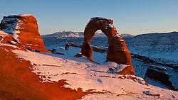 Delicate Arch with snow in winter at sunset, Arches National Park, Utah, United States of America
