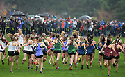 Dec 2, 2017; Portland, OR, USA; General overall view of the girls' race in the 2017 Nike Cross Nationals at Glendoveer Golf Course.