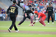 Lancashires Alex Davies nearly stumped during the Vitality T20 Blast North Group match between Lancashire Lightning and Leicestershire Foxes at the Emirates, Old Trafford, Manchester, United Kingdom on 3 August 2018. Picture by George Franks.