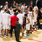 27 February 2018: San Diego State men's basketball hosts Boise State in it's last meet up of the regular season at Viejas Arena. San Diego State Aztecs head coach Brian Dutcher huddles his team up prior to the start of the game against the Boise State Broncos. The Aztecs lead 38-37 at halftime. <br /> More game action at sdsuaztecphotos.com