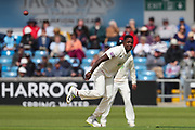 Fidel Edwards of Hampshire watches the ball as it is hit to the boundary off his bowling during the opening day of the Specsavers County Champ Div 1 match between Yorkshire County Cricket Club and Hampshire County Cricket Club at Headingley Stadium, Headingley, United Kingdom on 27 May 2019.