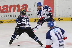 17.04.2015, Saturn Arena, Ingolstadt, GER, DEL, ERC Ingolstadt vs Adler Mannheim, Playoff, Finale, 4. Spiel, im Bild Jon Rheault (Nr.46, Adler Mannheim) gegen Bjoern Barta (Nr.33, ERC Ingolstadt) // during Germans DEL Icehockey League 4nd final match between ERC Ingolstadt and Adler Mannheim at the Saturn Arena in Ingolstadt, Germany on 2015/04/17. EXPA Pictures © 2015, PhotoCredit: EXPA/ Eibner-Pressefoto/ Strisch<br /> <br /> *****ATTENTION - OUT of GER*****