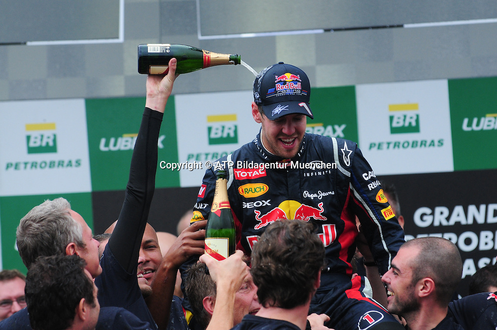 World Champion 2012 - Sebastian VETTEL, Germany, D, Red Bull Racing Renault F1 Team - Celebration - Vettel ist Weltmeister, Jubel - <br /> F1 Grand Prix in BRAZIL, Sao Paulo , Interlagos - Formula One, Formel 1, Weltmeister - Champion du Monde  Formule 1 - race  - fee liable image - Photo Credit: &copy; ATP / BAIRROS Duda