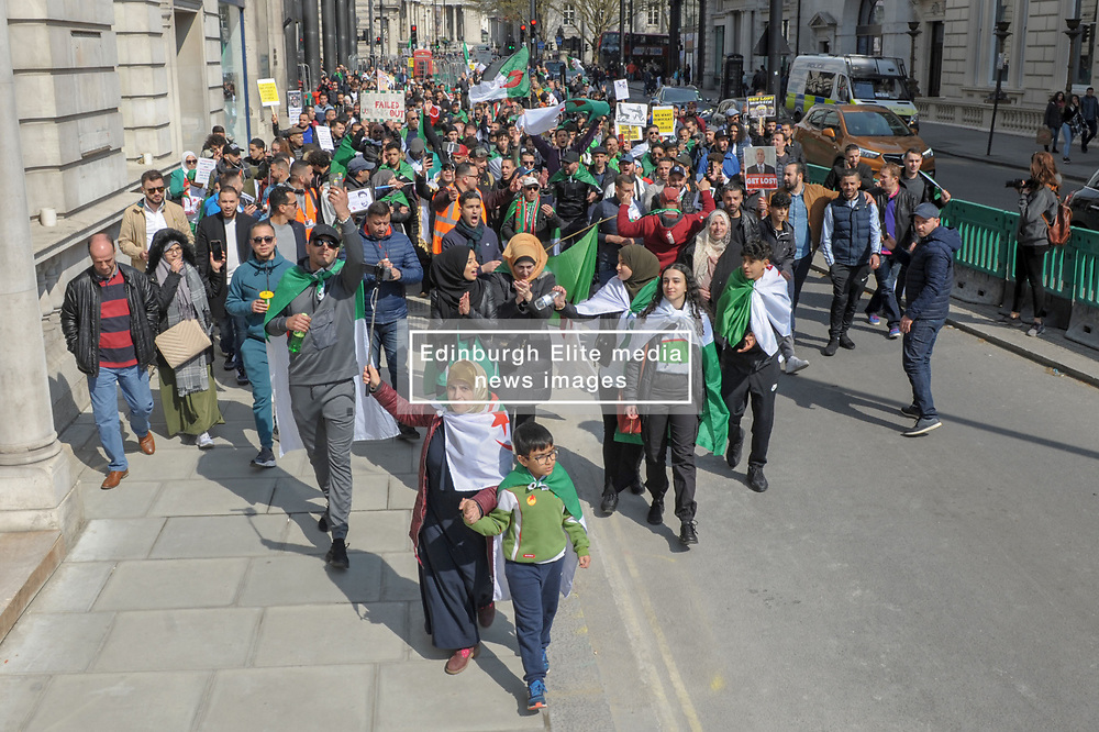 Algerians came together in Trafalgar Square in their 8th  protest against the Algerian regime. The protesters called for the immediate full resignation of the actual government and then marched to the Algerian embassy. <br /> <br /> Richard Hancox   EEm 14042019