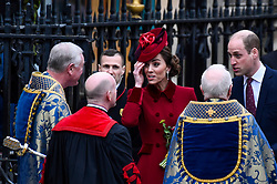 © Licensed to London News Pictures. 09/03/2020. LONDON, UK. The Duke and Duchess of Cambridge leave Westminster Abbey after attending the annual church service on Commonwealth Day.  Photo credit: Stephen Chung/LNP