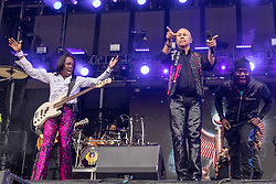 May 25, 2018 - Napa, California, U.S - VERDINE WHITE, RALPH JOHNSON and PHILIP BAILEY of Earth, Wind and Fire during BottleRock Music Festival at Napa Valley Expo in Napa, California (Credit Image: © Daniel DeSlover via ZUMA Wire)