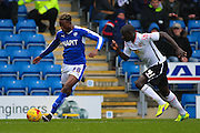 Chesterfield FC midfielder Gboly Ariyibi puts in a cross during the Sky Bet League 1 match between Chesterfield and Crewe Alexandra at the Proact stadium, Chesterfield, England on 20 February 2016. Photo by Aaron Lupton.
