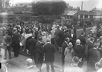 H798<br /> <br /> Bremen Flight 1928.<br /> <br /> No details at present as to what is happening in this picture: a large group of people socialing in smart attire in the gounds of possibly an estate.<br /> <br /> (The first east-west non-stop transatlantic flight, in April 1928, from Baldonnel, Ireland to Greenly Island, Canada, in a Junkers W 33 monoplane, the &quot;Bremen&quot;. Crew of the Bremen: Pilot Capt. Herman K&ouml;hl, Navigator Col. Major James Fitzmaurice and Baron Ehrenfried G&uuml;nther Freiherr von H&uuml;nefeld, Owner of the plane).<br /> <br /> (Part of the Independent Newspapers Ireland/NLI Collection)