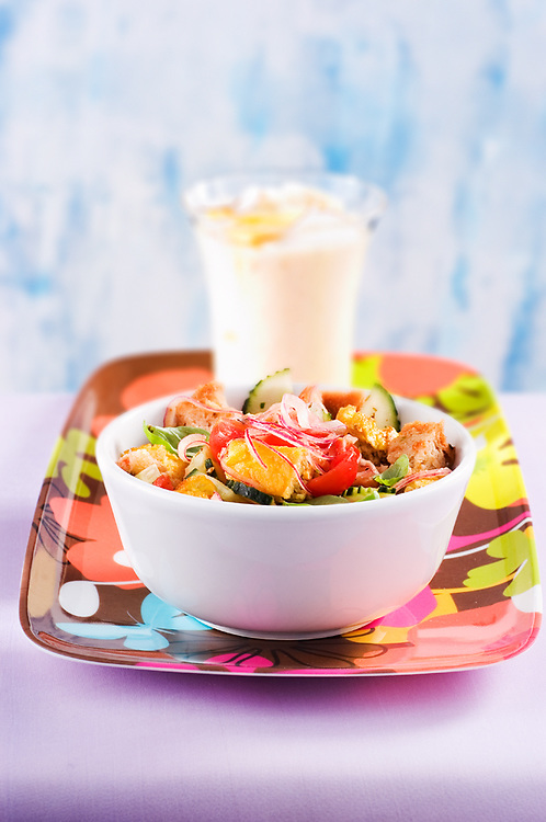 panzanella in the cup and milkshake