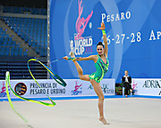 Neta Rivkin during qualifying at ribbon in Pesaro World Cup at Adriatic Arena on 26 April 2013. Neta was born on June 23, 1991 in Petah Tiqwa Israel. <br /> She is one of Israel's most successful rhythmic gymnasts.