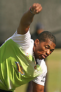 Makhaya Ntini of the Warriors sends down a delivery during the Warriors training session held at St Georges Park in Port Elizabeth on the 16 September 2010..Photo by: Shaun Roy/SPORTZPICS/CLT20