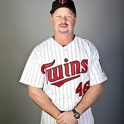 Feb 19, 2013; Fort Myers, FL, USA; Minnesota Twins third base coach Joe Vavra (46) poses for a portrait during photo day at Hammond Stadium. Mandatory Credit: Derick E. Hingle-USA TODAY Sports