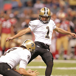 2008 September 28: New Orleans Saints PK Martin Gramatica (1) kicks a field goal during the NFL week four game between the San Francisco 49ers and the New Orleans Saints at the Louisiana Superdome in New Orleans, LA.