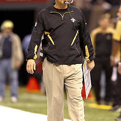 November 21, 2010; New Orleans, LA, USA; New Orleans Saints head coach Sean Payton on the sideline during the second quarter against the Seattle Seahawks at the Louisiana Superdome. Mandatory Credit: Derick E. Hingle