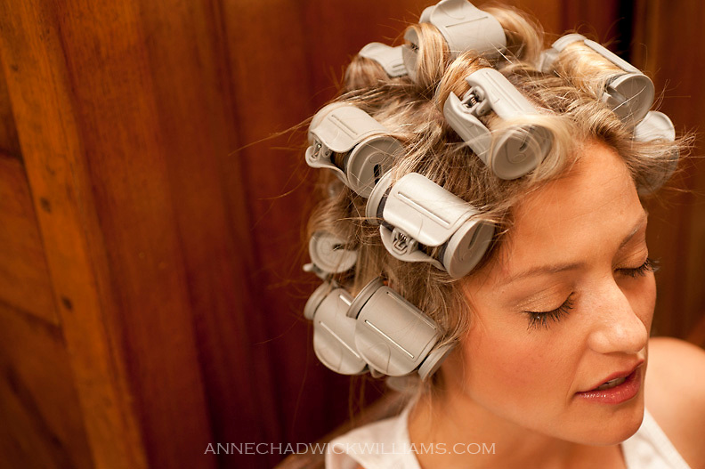 A bride gets ready for her wedding at Plumb Jack, Squaw Valley, California.