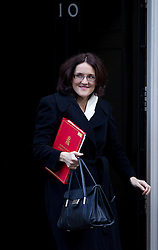 © Licensed to London News Pictures. 16/10/2012. LONDON, UK. Theresa Villiers, the Northern Ireland Secretary is seen leaving number 10 Downing Street after today's meeting of David Cameron's cabinet in London today (16/10/12). Photo credit: Matt Cetti-Roberts/LNP