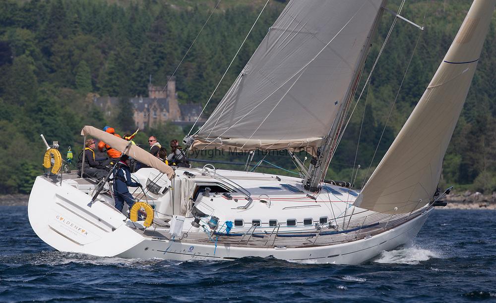 Silvers Marine Scottish Series 2017<br /> Tarbert Loch Fyne - Sailing<br /> <br /> GBR4770R, Golden Fox, Angus Cartwright, CCC, Beneteau First 47.7<br /> Crawford McInnes winner Harris Cartwright<br /> <br /> Credit: Marc Turner / CCC