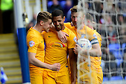 Preston North End Forward Jermaine Beckford (10) is congratulated on his goal during the Sky Bet Championship match between Reading and Preston North End at the Madejski Stadium, Reading, England on 30 April 2016. Photo by Jon Bromley.