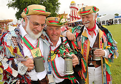 © Licensed to London News Pictures. 29/05/2014. Shepton Mallet, UK Royal Bath and West show. Wessex Morris Men enjoy a pint of Cider on the village green<br /> . Photo credit : Jason Bryant/LNP