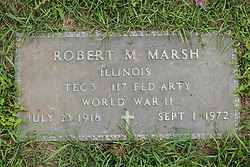 31 August 2017:   Veterans graves in Park Hill Cemetery in eastern McLean County.<br /> <br /> Robert M Marsh  Illinois TEC3  117 Field Artillery  World War II  July 23 1918  Sept 1 1972