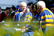 "Chris Matthews, host of ""Hardball"" on MSNBC, offers a thumbs-up to UR's James Meng-Ju Wu after the senior's graduation speech at the University of Rochester's Commencement Ceremony on Sunday, May 18, 2014."