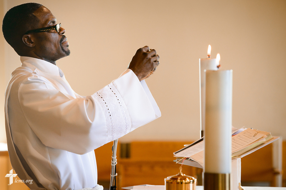 Vicar Daniel Keah, leads worship on Sunday, Aug. 6, 2017, at Lamb of God Lutheran Church, housed in Ascension Lutheran Church, Landover Hills, Md. LCMS Communications/Erik M. Lunsford