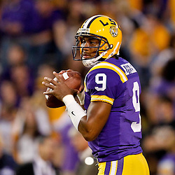 November 13, 2010; Baton Rouge, LA, USA; LSU Tigers quarterback Jordan Jefferson (9) during warm ups prior to kickoff of a game against the Louisiana Monroe Warhawks at Tiger Stadium.  Mandatory Credit: Derick E. Hingle