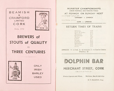 Munster Minor and Senior Hurling Championship Final,.25.07.1937, 07.25.1937, 25th July 1937,.25071937MSMHCF,..Beamish & Crawford Limted Cork,..Dolphin Bar, Merchant Street Cork,.