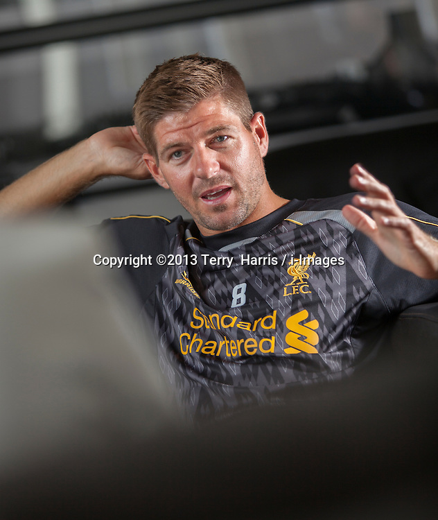 Steven Gerrard, Footballer for Liverpool, Bournemouth, United Kingdom. Tuesday, 16th July 2013. Picture by Terry Harris / i-Images. <br /> <br /> England Captain Steven Gerrard announces retirement from international football. Photo filed Monday 21st July 2014.