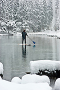 """Winter SUP on the Truckee River 3"" - Peter Spain Stand Up Paddleboarding on the Truckee River"