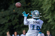 Carolina Panthers wide receiver Curtis Samuel (10) catches a pass during training camp at Wofford College, Sunday, August 11, 2019, in Spartanburg, S.C. (Brian Villanueva/Image of Sport)