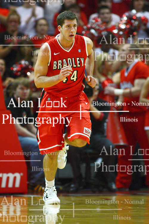 04 February 2012:  Jordan Prosser during an NCAA Missouri Valley Conference mens basketball game where the Bradley Braves lost to the Illinois State Redbirds 78 - 48 in Redbird Arena, Normal IL