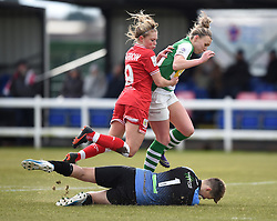 Millie Farrow of Bristol City Women and Hannah Short of Yeovil Town Ladies jump over Charlotte Haynes of Yeovil Town Ladies as she makes a save - Mandatory by-line: Paul Knight/JMP - Mobile: 07966 386802 - 28/02/2016 -  FOOTBALL - Stoke Gifford Stadium - Bristol, England -  Bristol City Women v Yeovil Town Ladies - FA Cup fourth round