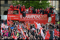 Sir Alex Ferguson joins Manchester United players in Albert Square, Manchester,  As Manchester United celebrate winning their 20th league title winning the Premier League, Monday May 13, 2013. Photo by: Andrew Parsons / i-Images
