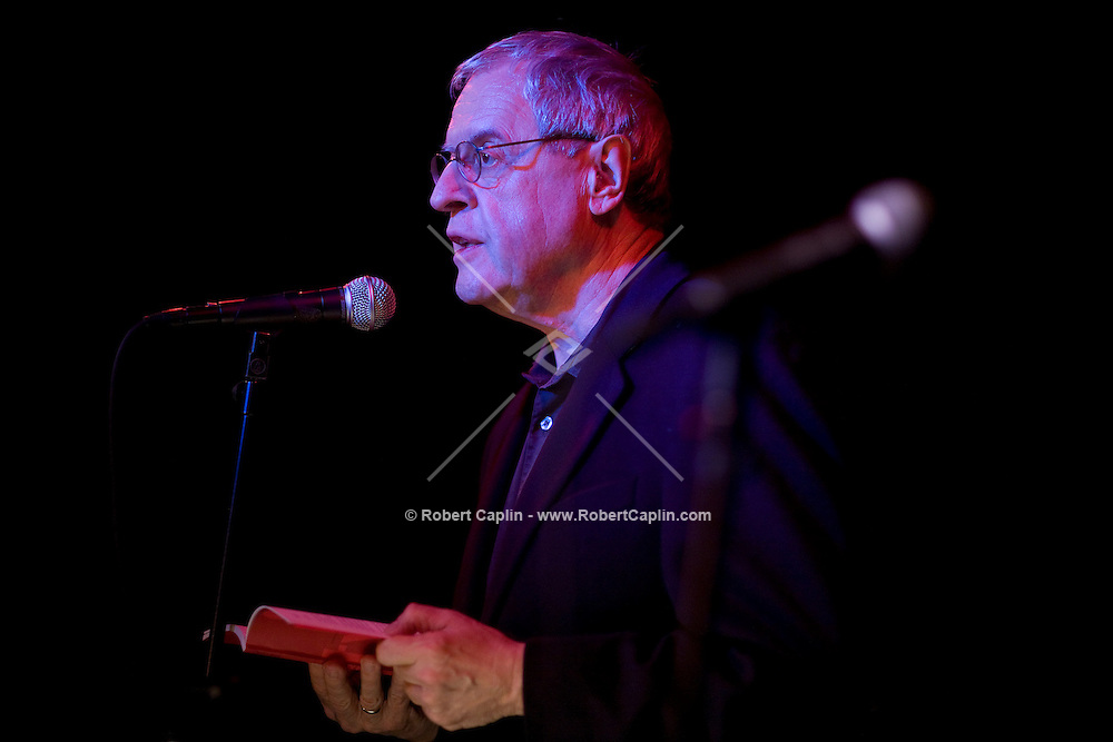 Current US poet laureate Charles Simic reads some poetry during to a collaboration with jazz musicians and former laureate, Robert Pinsky, at the Jazz Standard in New York, U.S. 1/8/08.