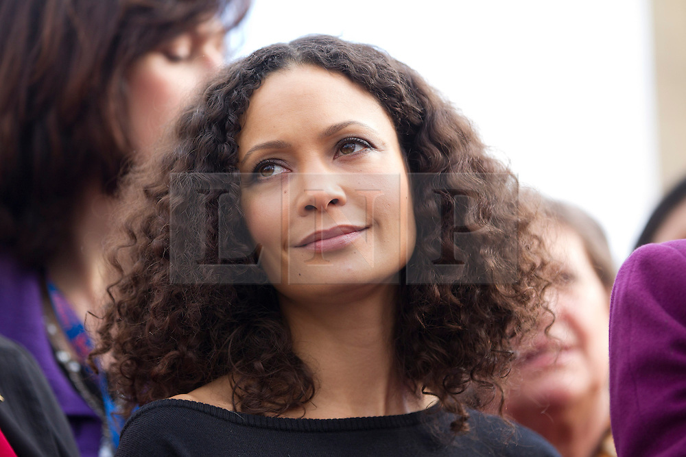 © Licensed to London News Pictures. 14/02/2013. London, UK. Actress Thandi Newton is seen in Parliament Square, London today (14/02/13) amongst men and women remembering the 109 women killed through domestic violence in the UK as part of the 'One Billion Rising' campaign. The campaign takes its name from the statistic stating that one in three women will be raped or beaten in their lifetime (equating to one billion women). Photo credit: Matt Cetti-Roberts/LNP