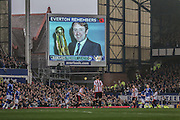 Everton remembers Howard Kendall during the Barclays Premier League match between Everton and Sunderland at Goodison Park, Liverpool, England on 1 November 2015. Photo by Simon Davies.