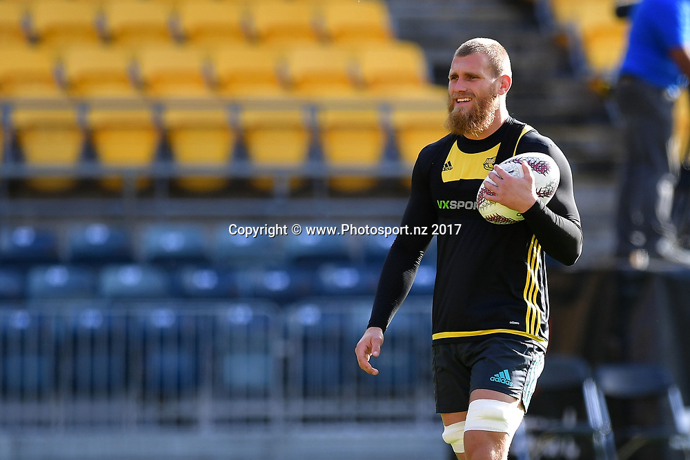 Hurricanes captain Brad Shields walks with a ball during the Hurricanes captains run at Westpac Stadium in Wellington on Friday the 26th of June 2017. Copyright Photo by Marty Melville / www.Photosport.nz