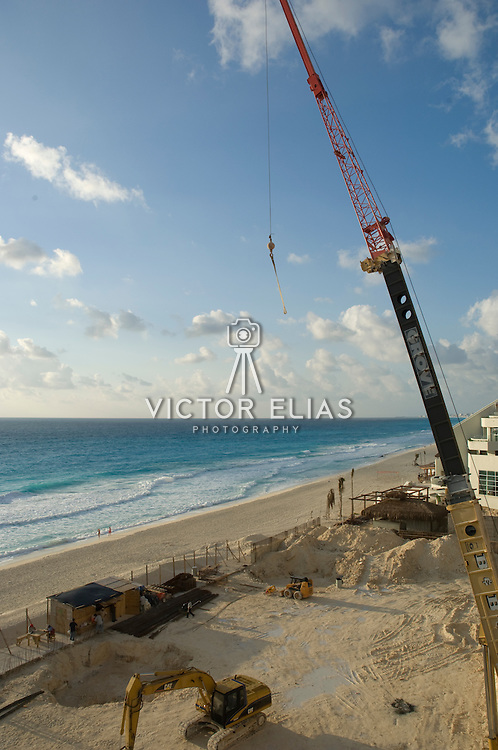 Construction site by the beach, Cancun, Q.Roo. Mexico