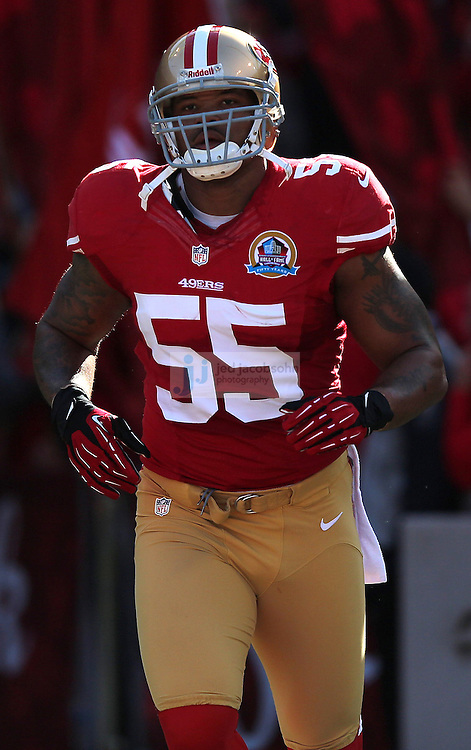 San Francisco 49ers outside linebacker Ahmad Brooks (55) enters the filed against the Miami Dolphins during an NFL game at Candlestick Park on December 9, 2012 in San Francisco, CA.  (Photo by Jed Jacobsohn)