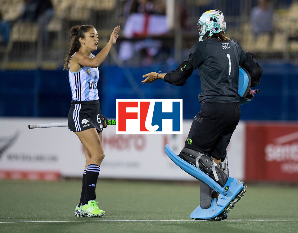 AUCKLAND - Sentinel Hockey World League final women<br /> Match id 10298<br /> 08 Argentina v England 1-0<br /> Foto: Bianca Donati and Belen Succi(C,Gk) celebration aftere the goal.<br /> WORLDSPORTPICS COPYRIGHT FRANK UIJLENBROEK