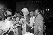 The famous painter late M. F Hussain at a programme to raise money for underprivileged children.