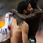 Ezekiel Kemboi, Kenya, winning the Men's 3000m Steeplechase Final celebrate with silver medalist  Mahiedine Mekhissi-Benabbad, France, at the Olympic Stadium, Olympic Park, Stratford at the London 2012 Olympic games. London, UK. 5th August 2012. Photo Tim Clayton